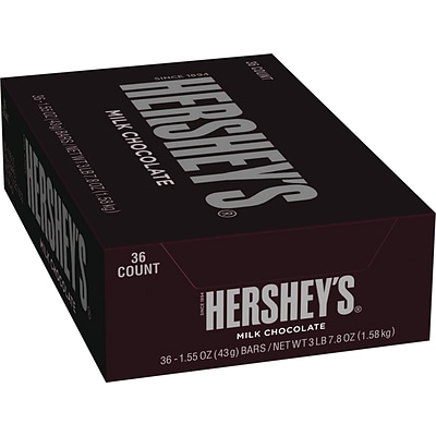 Hersheys Milk Chocolate Bar, 1.55 oz., 36/Box