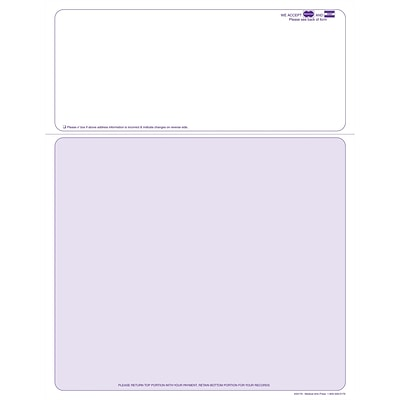 Solid Color Laser Statements; Style B, with Credit Card Information, Purple