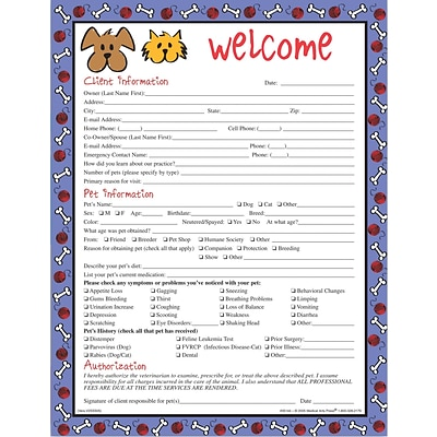 Medical Arts Press® Welcome/Registration Forms/Dog and Cat Cartoon/Welcome