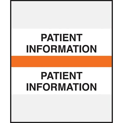 Medical Arts Press® Standard Preprinted Chart Divider Tabs, Patient Information, Orange