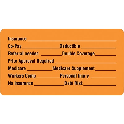 Medical Arts Press® Insurance Chart File Medical Labels, Insurance Information, Fl Orange, 1-3/4x3-1/4, 500 Labels