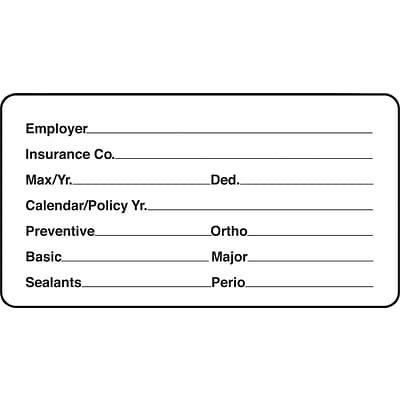 Insurance Chart File Medical Labels, Insurance Information, White, 1-3/4x3-1/4, 500 Labels