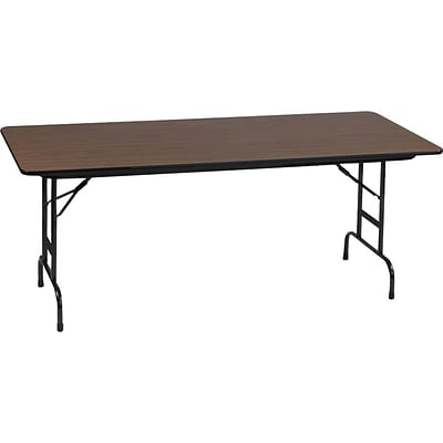 Correll® 30D x 96L  Adjustable Height Heavy Duty Folding Table; Walnut Melamine Laminate Top