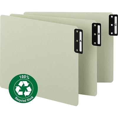 Smead® 100% Recycled Pressboard End-Tab Filing Guides, Vertical Metal Tab (A-Z), Extra Wide Letter, Gray/Green, 25/St (61676)
