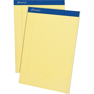 Ampad Legal Pads, 8-1/2 x 11, Narrow Ruled, Canary, 50 Sheets/Pad, 4 Pads/Pack (20-215)