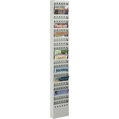 Safco® Steel Magazine Rack, 23-Pockets, Grey