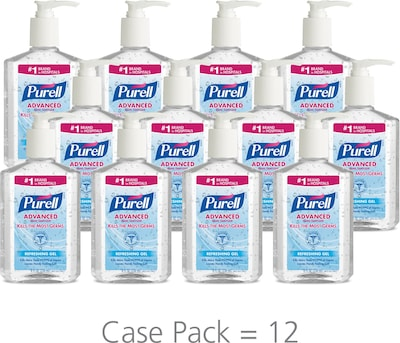 PURELL® Advanced Hand Sanitizer Refreshing Gel for Workplaces, Clean scent, 8 fl oz pump bottle 12/CT (9652-12CT)