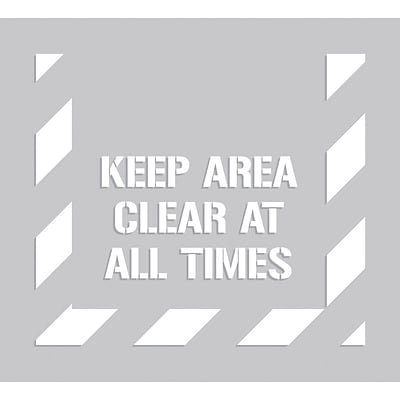 ACCUFORM SIGNS® Floor Marking Stencil, KEEP AREA CLEAR AT ALL TIMES, 44 x 40, Plastic, Each