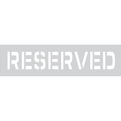 ACCUFORM SIGNS® Parking Lot Stencil, RESERVED, 4 Letters, Plastic, Each