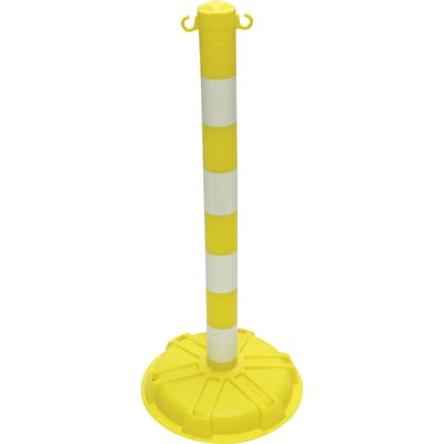 ACCUFORM SIGNS® BLOCKADE Stanchion Post, Yellow Post w/Glow-in-the-Dark Stripe, Each