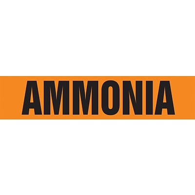 ACCUFORM SIGNS® Self-Stick Pipe Marker, AMMONIA, 3/4 to 1-1/4, Black/Orange, Each