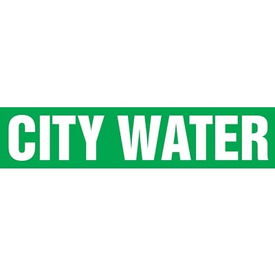 ACCUFORM SIGNS® Self-Stick Pipe Marker, CITY WATER, 3/4 to 1-1/4, White/Green, Each