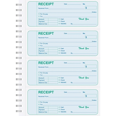 Medical Arts Press®  Carbonless Receipt Books 4-Up, Blue/Green