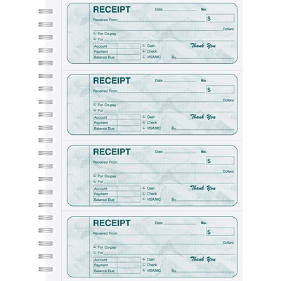 Medical Arts Press®  Carbonless Receipt Books 4-Up, Teal