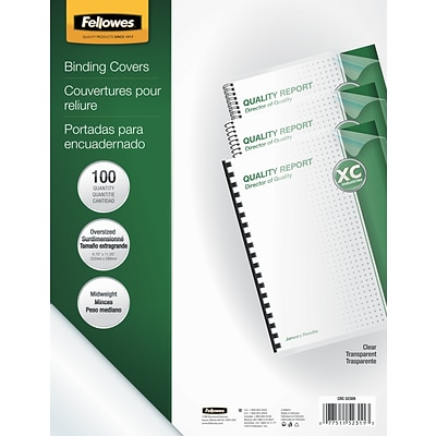 Fellowes® Oversized Presentation Binding Covers, Un-Punched, Clear
