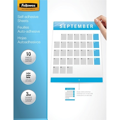 Fellowes® Self Adhesive Laminating Sheets, 9x12, 3 mil., 10 Pk