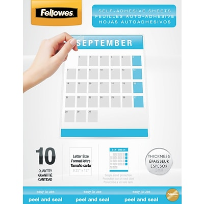 Fellowes® Self Adhesive Laminating Sheets, 9x12, 3 mil., 50 Pk