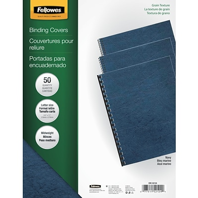 Fellowes® Expressions Binding Presentation Covers, Letter, Navy, 50/Pack