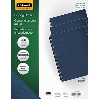 Fellowes® Oversized Presentation Binding Covers, Un-Punched, Navy, Linen