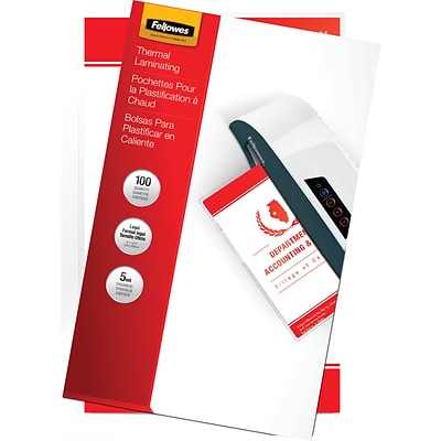 Fellowes® Legal Size Laminating Pouch, 5 mil, 14-1/2H x 9W, 100/Pack