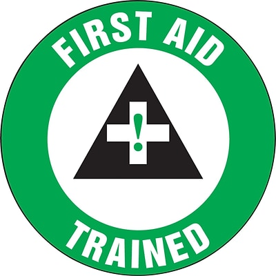 Accuform Signs® Hard Hat/Helmet Decal, FIRST AID TRAINED, 2¼, Adhesive Vinyl, 10/Pk (LHTL312)