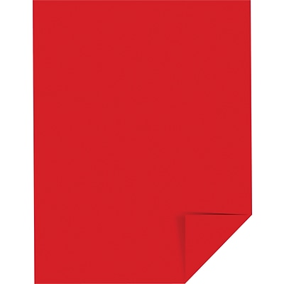 Wausau Astrobrights® Colored Card Stock, 8 1/2 x 11, Re-Entry Red, Pack