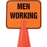Cortina Cone Sign, Men Working, 10.5 X 12.5, Black On Orange
