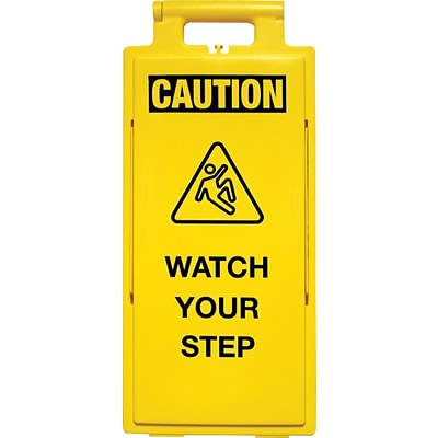 Cortina Lamba Safety Floor Sign, Folding, Caution, Watch Your Step, 2X4, Yellow
