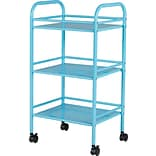 Staples® 3 Shelf Rolling Cart, Light Blue