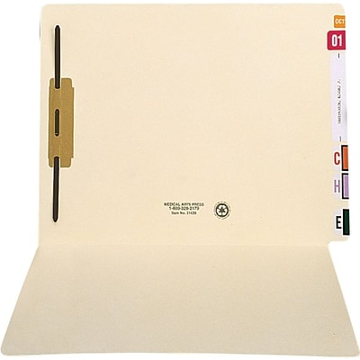 Medical Arts Press® Extended End-Tab Folders; Fastener Position 1, 11 pt., 50/Box