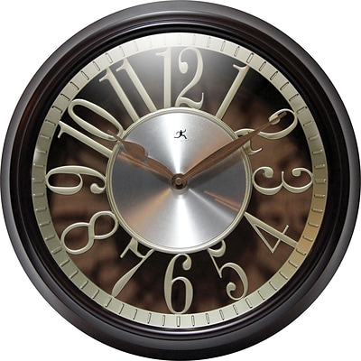 Infinity Instruments Leeds 15 Dark Walnut Wall Clock with Die-Cut Floating Dial and Aluminum Disc