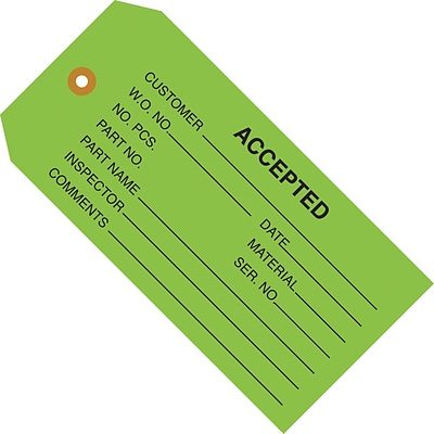 Accepted (Green) Inspection Tag; 4 3/4 x 2 3/8, 1,000/Case