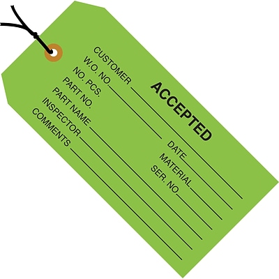 Staples - 4 3/4 x 2 3/8 - Accepted (Green) Inspection Tag - Pre-Strung, 1000/Case