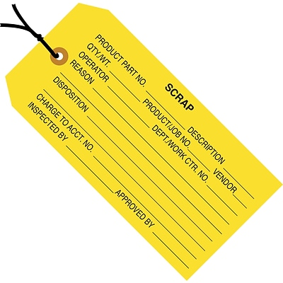 Scrap (Yellow) Inspection Tag; 4 3/4 x 2 3/8, Pre-Strung, 1,000/Case
