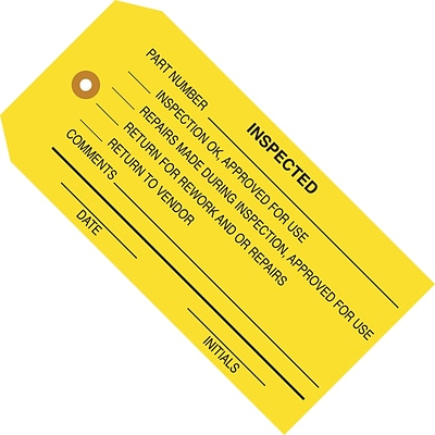Inspected (Yellow) Inspection Tag; 4 3/4 x 2 3/8, 1,000/Case