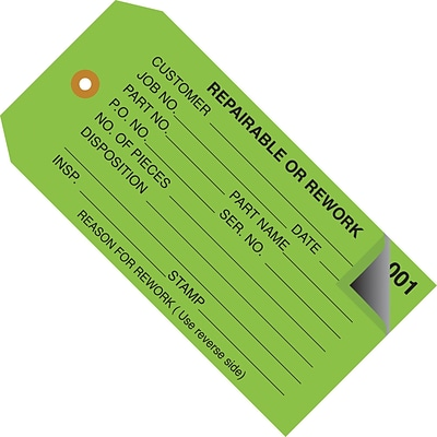 Staples - 4 3/4 x 2 3/8 - Repairable or Rework Inspection Tag 2 Part - Numbered 001 - 499, 500/Case