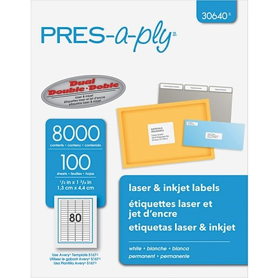 Laser/inkjet Address Labels, 1/2 X 1 3/4, White, 8000/Pk (AVE30640)