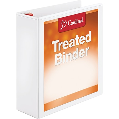 Cardinal Treated Binder ClearVue Locking Slant-D Ring Binder, 3, White