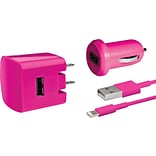 Delton Apple Certified Lightning 3PC Charger Kit iPhone 5, 6, 6+ Pink (DAC3IN1PNK)