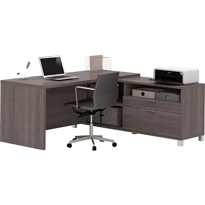 Bestar® Pro-Linea L-Desk in Bark Grey
