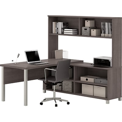 Bestar® Pro-Linea L-Desk with Hutch Bark Grey