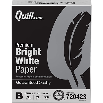 Quill Brand® Laser & Inkjet Print Paper, 8-1/2 x 11, 98 Bright, 24 LB, 500 sheets