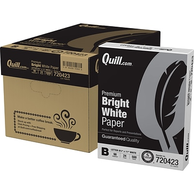 Quill Brand® 8.5 x 11 Laser & Inkjet Print Paper, 24 lbs., 98 Brightness, 500 Sheets/Ream, 10 Reams/Carton (720423CT)