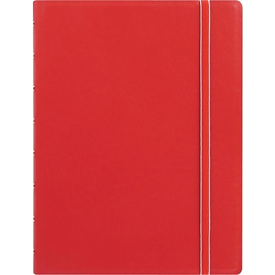 Filofax® A5 bus Notebook w/ 112 Cream Colored Ruled Repositionable Pages, 8-1/4x5-13/16, Red