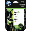 HP 63XL Black/63 Tri-color Original Ink Cartridges, Multi-pack (2 cart per pack) (L0R48AN)