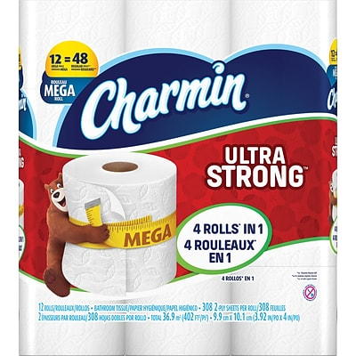 Charmin® Ultra Strong™ Toilet Paper, 2-Ply, 308 Sheets/Roll, 12 Mega Rolls/Pack (94154)