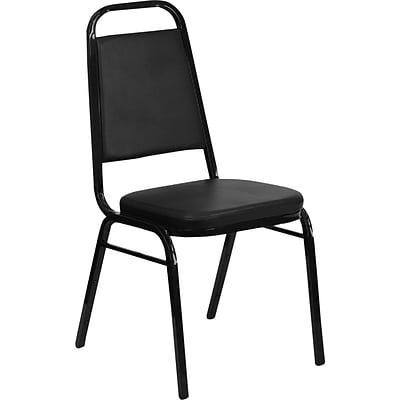 Iceberg® Banquet Chairs with Trapezoid Back, Black/Silver, 4/Carton