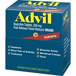 Advil® Ibuprofen Pain Reliever, 200mg, 2/Packet, 50 Packets/Box (15000-001)