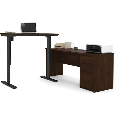 Bestar® Prestige+ L-Desk with Electric Height Adjustable Table: Chocolate