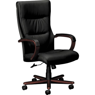 HON Topflight Executive High Back Chair, Fixed Arms, Mahogany Finish, Black  SofThread Leather (BSXVL | Quill.com